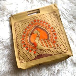Tienda Ho Wooden Handle Peacock Tote Bag EUC